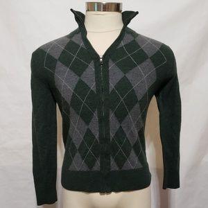 Banana Republic Men Full Zip Argyle Green Sweater